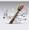 background design with guitar and musicnotes vector image vector image