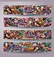 cartoon doodles ice cream banners vector image vector image