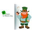 cartoon happy leprechaun with smoking pipe vector image vector image