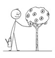 cartoon man or businessman watering small tree vector image