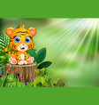 cartoon of baby tiger sitting on tree stump with g vector image vector image
