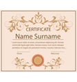 Certificate template floral ornament printing vector image