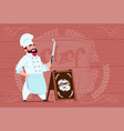 Chef cook holding knife smiling cartoon character