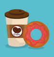 coffee and donut delicious breakfast vector image