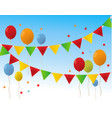 colored happy birthday balloons banner background vector image vector image