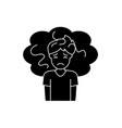 concern black icon sign on isolated vector image vector image