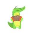 Crocodile Playing Accordion Humanized Green vector image vector image