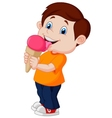 Cute boy cartoon licking ice cream vector image vector image