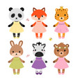 cute dressed animals in modern flat style vector image vector image