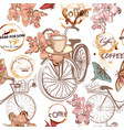 cute pattern with fake bicycles and flowers vector image vector image