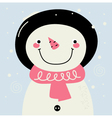 Cute retro Snowman with pink Scarf vector image vector image