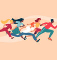 diverse group young people running as a crowd vector image