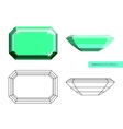 Emerald cut flat style vector image