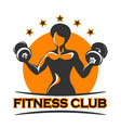 fitness emblem with athletic girl vector image vector image