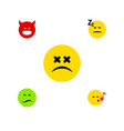 flat icon gesture set of pouting asleep cross vector image vector image