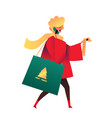 flat smiling woman with shopping bag vector image vector image