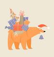 funny cartoon bear in a santa claus hat vector image vector image