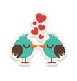 Greeting card love birds kissing happy Valentine vector image