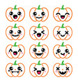 halloween pumpkin design - cute kawaii vector image