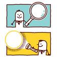 hand drawn cartoon characters - magnifier vector image vector image