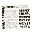 Hand-drawn trendy alphabet White vector image