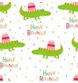 happy birthday pattern with crocodile vector image