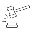 judge hammer thin line icon judgment and law vector image vector image