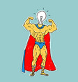 light bulb hero cartoon style vector image vector image