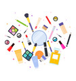 makeup tools are scattered on white flat isolated vector image