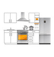modern electric appliances in kitchen interior vector image