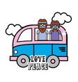 nice minibus with cloud and hippies inside vector image vector image