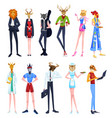 people in animal heads vector image vector image