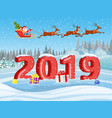 santa and reindeer on the snow vector image vector image
