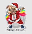 santa claus cute pug dog dabbing dance vector image