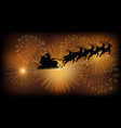santa claus flying with his sleigh vector image
