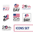 set icons for presidents day united vector image
