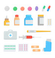 set of different pills and drugs first-aid kit vector image