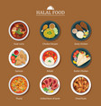 set of halal food flat design vector image vector image