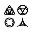 set of wiccan symbols and icons isolated on vector image