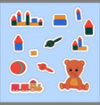 set sticker teddy bear and toys vector image vector image