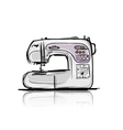 Sewing machine modern tro sketch for your design vector image vector image