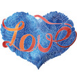 sketchy doodle blue heart vector image vector image