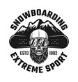 snowboarding emblem with skull and mountains vector image vector image