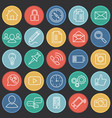 social communication set on circles flat color vector image