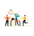 stressful situation at work employees in panic vector image