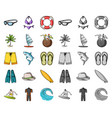 surfing and extreme cartoonmono icons in set vector image vector image