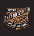tattoo logo vintage style with floral ornaments vector image