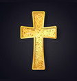 textured gold catholic cross isolated object on vector image