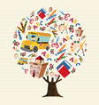 tree of kids school icons for education concept vector image