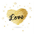 valentine heart created from golden lines and vector image vector image